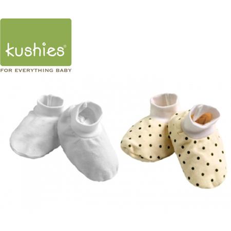 Kushies 嬰兒小腳套 (黃色點點+經典純白/一組兩雙)