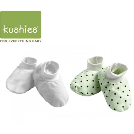 Kushies 嬰兒小腳套 (綠色點點+經典純白/一組兩雙)