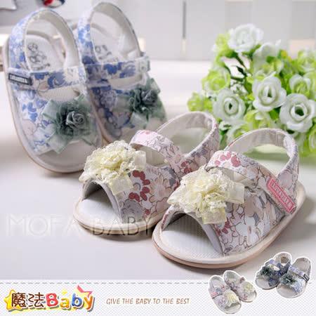 魔法Baby~百貨專櫃正品LOU&DIER~立體蕾絲花朵碎花寶寶鞋/學步鞋(藍.粉)~sh2242