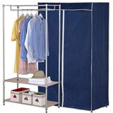 【克諾斯】90*45*180三層防塵衣櫥架(深藍灰邊)
