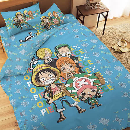 【享夢城堡】航海王 友誼之光系列-單人純棉三件式床包涼被組