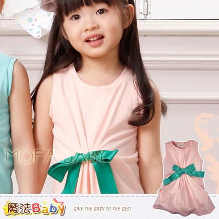 【魔法Baby】波波公主品牌~摺蝴蝶結背心連身衣/上衣~女童裝~k28201