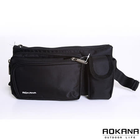 AOKANA奧卡納 MIT台灣製造 率性風尚 輕巧小物防潑水隨身旅行腰包(時尚黑)03-003