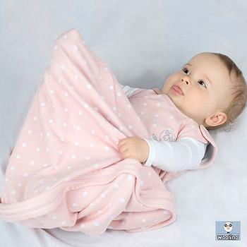 美國Woolino頂級羊毛嬰兒防踢被睡袍 (粉紅點點)