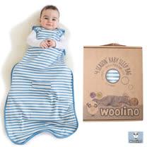 美國Woolino頂級羊毛嬰兒防踢被睡袍(水藍色條紋)
