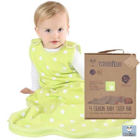 美國Woolino頂級羊毛嬰兒防踢被睡袍(綠色點點)