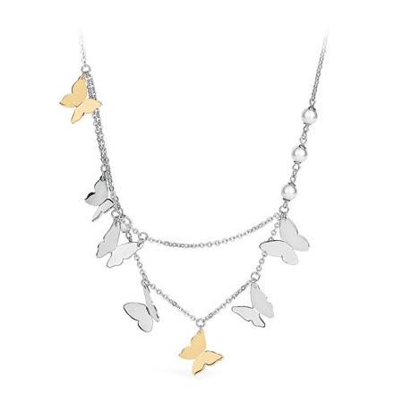 【brosway】Papillon 不鏽鋼 7隻蝴蝶4顆珍珠 雙鍊項鍊