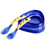 美國Baby Dipper Bowl單手餵寶寶防滑餐具組-藍色