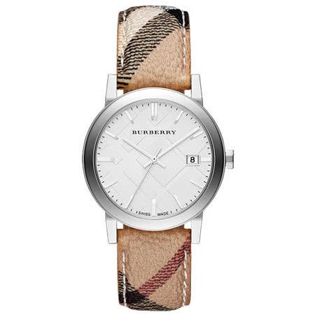 BURBERRY Heritage 英倫格紋腕錶-銀 BU9025