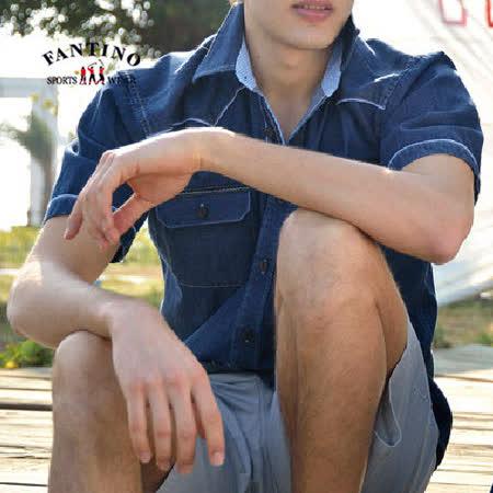 【FANTINO】男款 奧地利進口天絲棉休閒短袖牛仔襯衫(深丈青)334504