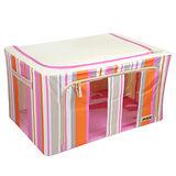 【快樂家】時尚條紋雙開口三視窗鐵架衣物收納箱80L(條紋粉紅)