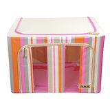 【快樂家】時尚條紋雙開口鐵架衣物收納箱66L(條紋粉紅)
