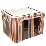 【快樂家】時尚條紋雙開口三視窗鐵架衣物收納箱66L(條紋咖啡)