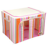 【快樂家】時尚條紋雙開口三視窗鐵架衣物收納箱66L(條紋粉紅)