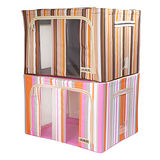(80L+66L超值特惠二件組)最新款三視窗時尚條紋衣物收納箱