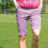 【FANTINO】女款 休閒格紋五分褲(黑白格.紫白格) 373205-373206
