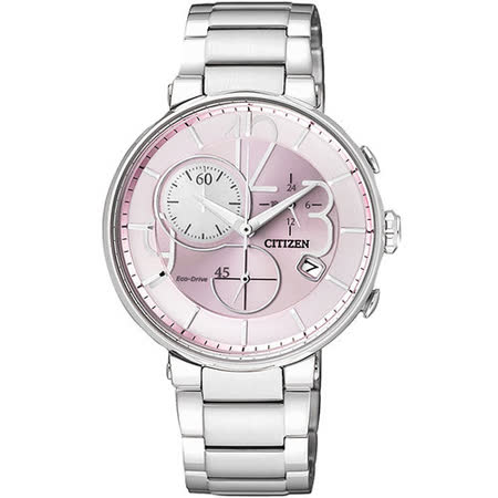 CITIZEN Eco-Drive 時尚趣味計時限定腕錶-粉紅/銀 FB1200-51X