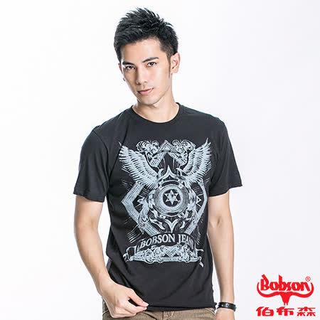 BOBSON 男款六芒星短袖上衣(黑23023-88)