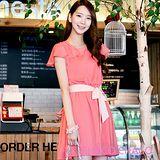 預購【CHACO韓國】甜美波浪袖擺綁帶連身洋裝CLDB-O-25*粉色F/L