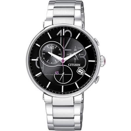 CITIZEN Eco-Drive 完美時尚趣味計時腕錶-黑 FB1200-51E