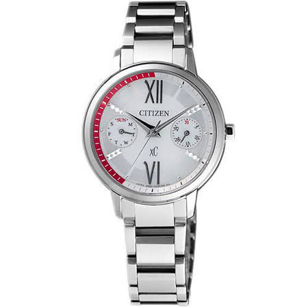 CITIZEN xC 海派甜心光動能時尚腕錶-銀白 FD1010-53A
