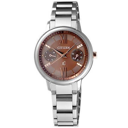 CITIZEN xC 海派甜心光動能時尚腕錶-咖啡金FD1010-53W