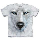 『摩達客』*大尺碼3XL*(預購)美國進口【The Mountain】自然純棉系列 藍眼白狼臉 設計T恤