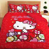 【享夢城堡】HELLO KITTY彩虹糖樂園系列-雙人四件式床包涼被組(紅)