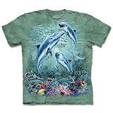 『摩達客』(預購)*大尺碼3XL*美國進口【The Mountain】自然純棉系列 尋十二海豚群 設計T恤
