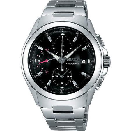 WIRED 急凍人風暴計時腕錶-黑/銀 7T92-X221D