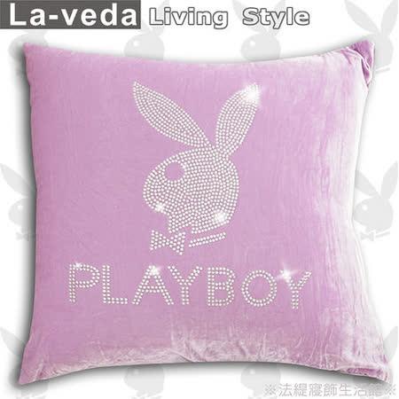 La Veda【PLAYBOY】時尚美鑽方型抱枕-粉紫色(60x60CM)