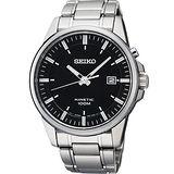 SEIKO Kinetic 時尚人動電能腕錶-黑/銀 5M62-0CZ0D