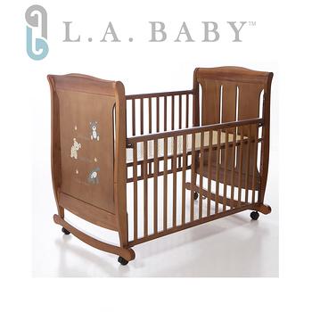 【美國 L.A. Baby】 芝加哥嬰兒搖擺大床/木床/原木床/嬰兒床(咖啡色)