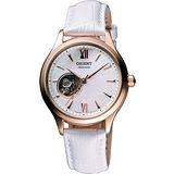 ORIENT 東方 鏤空機芯腕錶-玫塊金框X白 FDB0A002W