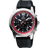 ORIENT 探險家三眼計時運動風SP腕錶-黑/紅圈 FTW01006B