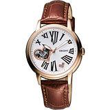 ORIENT 東方 心漾鏤空機芯腕錶-玫塊金框X咖啡 SDB07009W