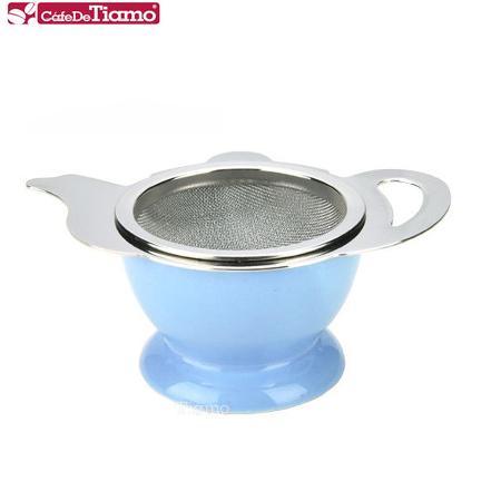 CafeDeTiamo 不鏽鋼花茶壺形濾網組-藍色 (附陶瓷底座) HG2818 B