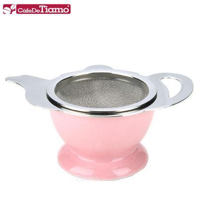 CafeDeTiamo 不鏽鋼花茶壺形濾網組-粉紅色 (附陶瓷底座) HG2818 P