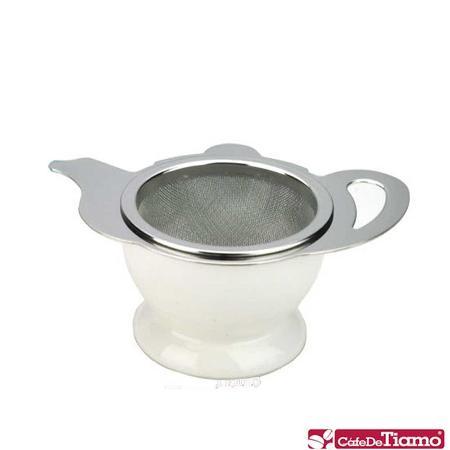 CafeDeTiamo 不鏽鋼花茶壺形濾網組-白色 (附陶瓷底座) HG2818 W