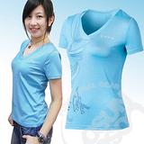 【瑞士 ODLO】女 V領彈性短袖印花排汗衣.抗UV .快速排汗.透氣.輕量化/水藍 345691 B