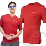 【瑞士 ODLO】男 V領短袖透氣排汗衫.抗UV .快速排汗.透氣.輕量化/紅 346132 B