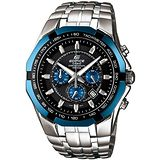 CASIO EDIFICE 極速新爵三眼賽車錶(黑+藍)
