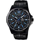 CASIO EDIFICE 時尚尖端全IP黑三眼腕錶