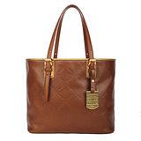 Longchamp 限量款菱紋全皮革肩背托特包(附化妝包)-咖啡色