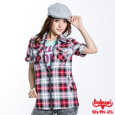 BOBSON 女款拉鍊式格紋短袖外套(紅23137-13)
