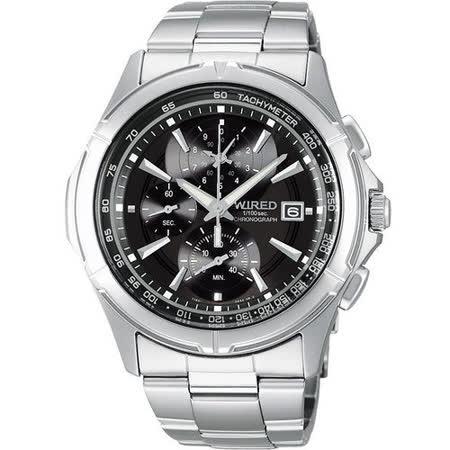 WIRED 極限玩家三眼計時腕錶-黑 7T82-X002D