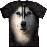 『摩達客』*大尺碼3XL*美國進口【The Mountain】自然純棉系列 哈士奇犬臉 設計T恤 (預購)
