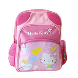 【HELLO KITTY-凱蒂貓】愛心蝴蝶護脊軟殼多層書包-粉色