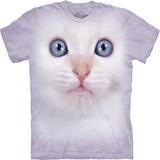 『摩達客』*大尺碼3XL*美國進口【The Mountain】自然純棉系列 白貓臉設計T恤 (預購)