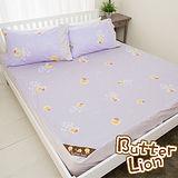 【奶油獅】怡情葉語系列-台灣製造-100%精梳純棉床包三件組(幻紫)-雙人加大6尺